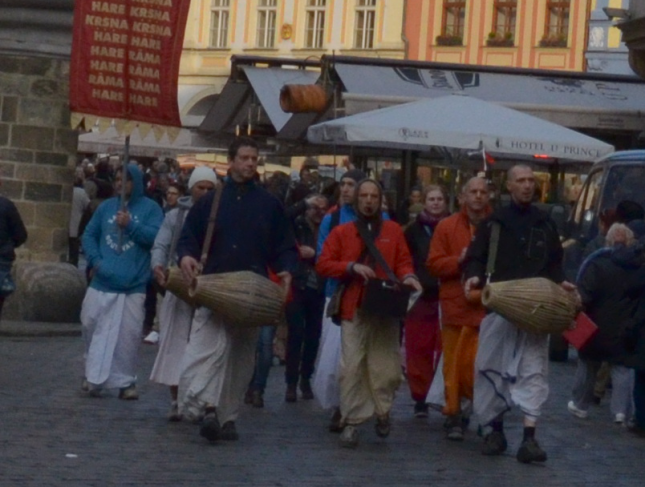 A Hare Krishna parade in Prague. They would offer me a rose but in return they would have demanded my whole pocket full of money. An other type of social parasitism.